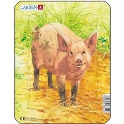Larsen mini puzzle - Tanyasi állatok (Malac)