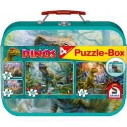 4 dinoszaurusz puzzle fémkofferben