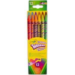 12 darabos radírvégű csavarozható színes ceruza